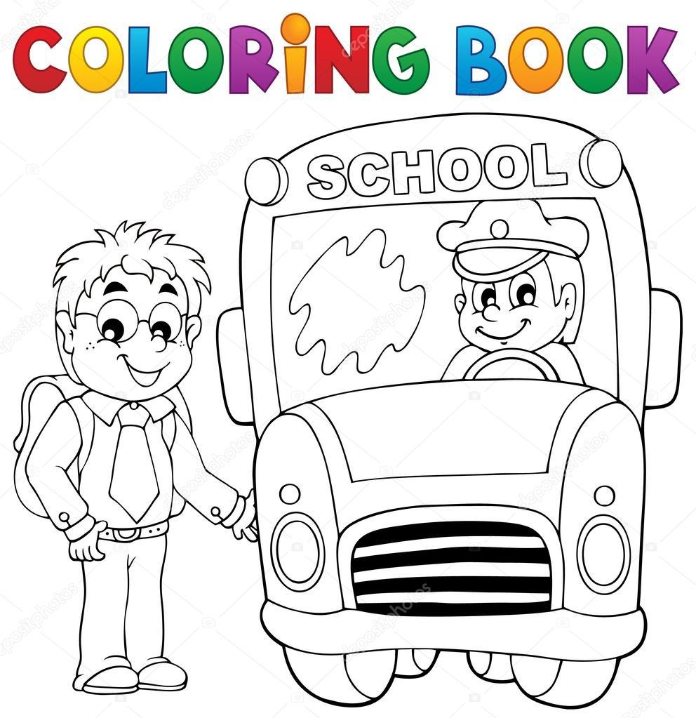 tema de autobús escolar libro 4 para colorear — Vector de stock ...