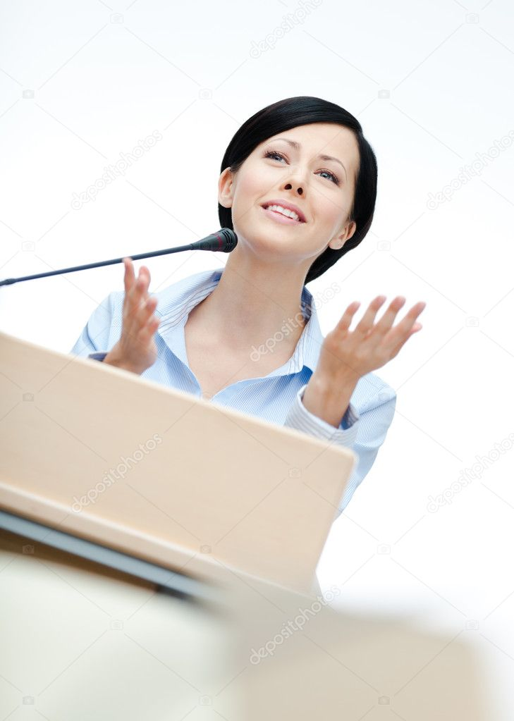 Woman speaker at the board
