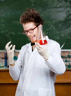 Mad professor is happy with experiment results