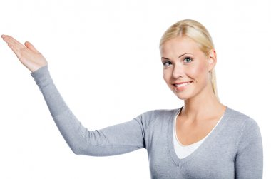 Woman pointing with hand up