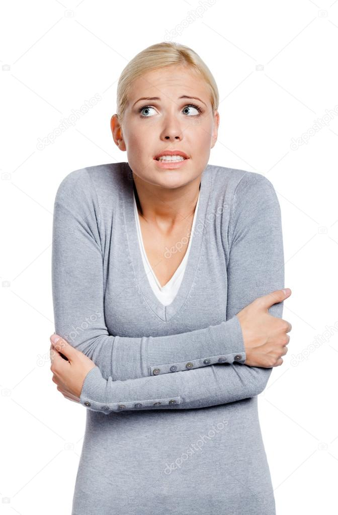 Half-length portrait of freezing woman