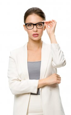 Half-length portrait of female business man in spectacles