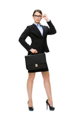 Businesswoman in glasses handing case