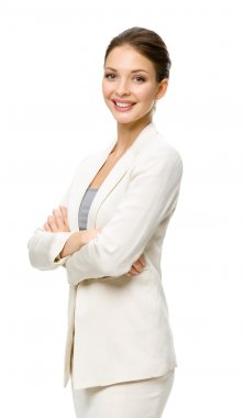 Half-length portrait of businesswoman with hands crossed, isolated on a white stock vector