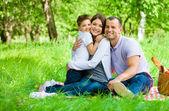 Familie von drei hat Picknick im Park