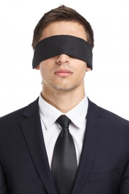Blind-folded businessman
