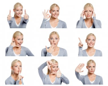 Set of pictures of woman with different gestures and emotions