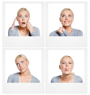 Set of pics of woman showing different emotions