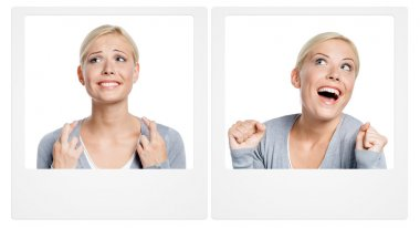 Two pictures with woman expressing emotions