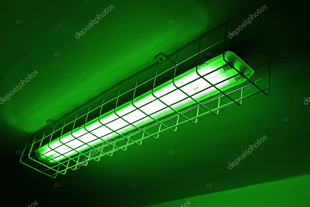 Green neon power lamp, energy details.