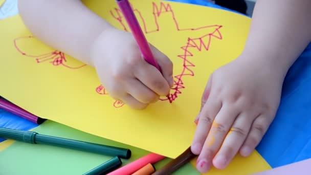 gyermek rajz closeup, nemzetközi Gyermeknap레트로 스타일의 건물