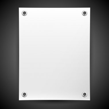 Blank white banner painted in the vector