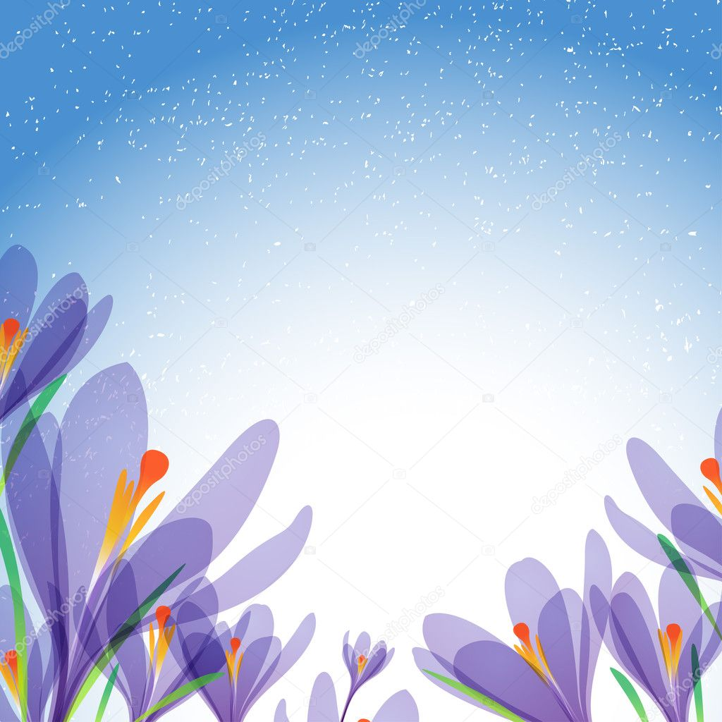 Vector background for design with spring flowers