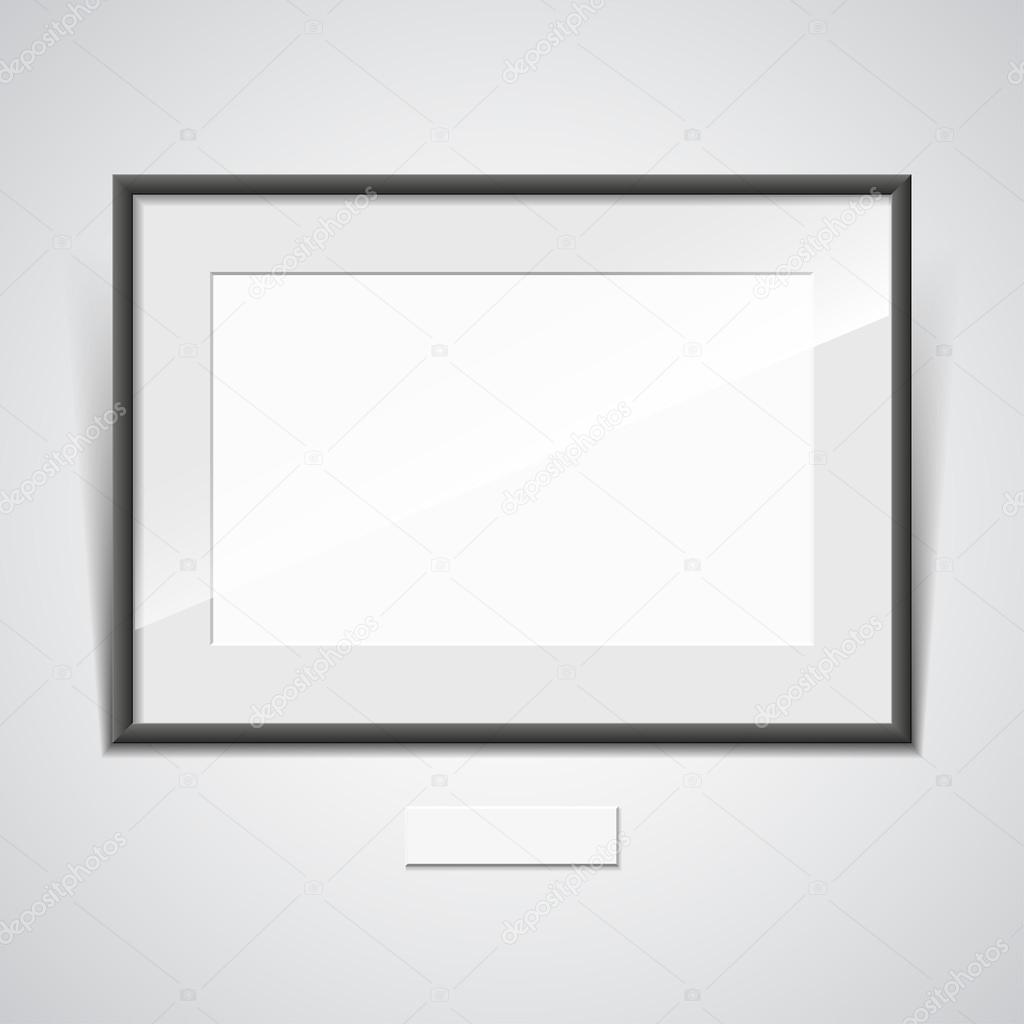 Illustration of a black frame with a white mat on a white wall ...