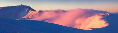 Panorama Mountain Range on a winter morning