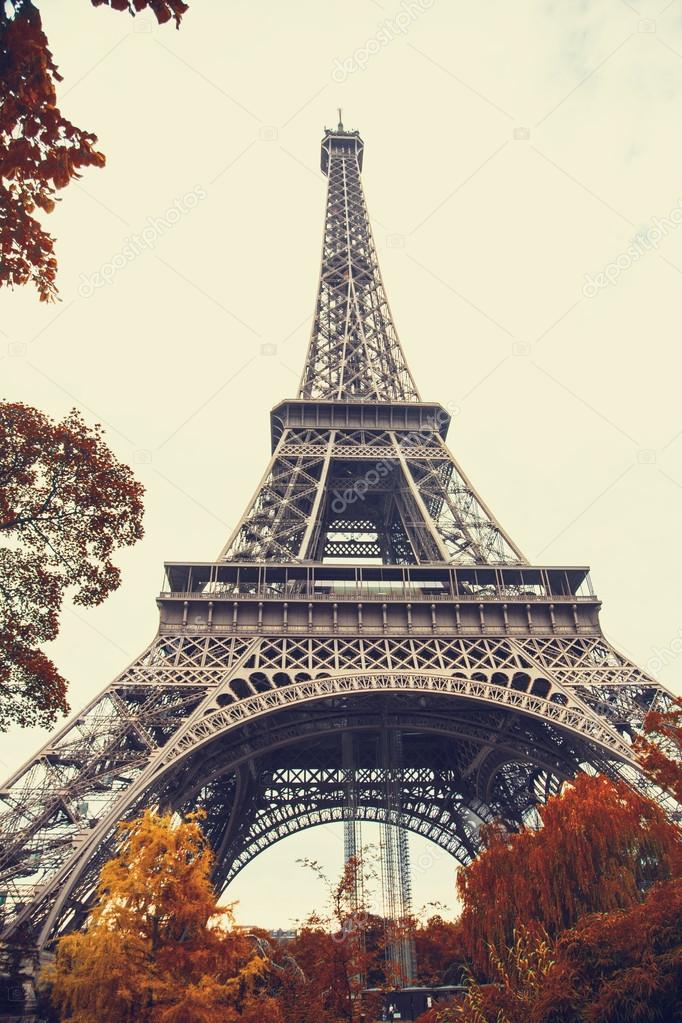 Paris. Gorgeous wide angle view of Eiffel Tower in autumn season