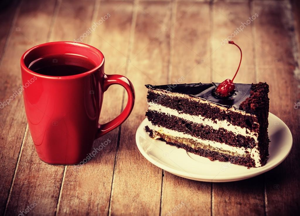 Cup of coffee with cake