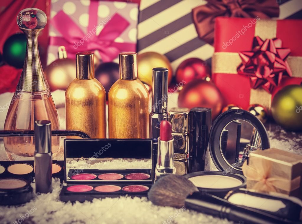 Cosmetics on christmas gifts