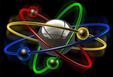 color conceptual structure of atom on black background 3d render illustration
