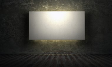 empty board in room with grunge walls 3d render