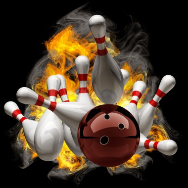 Abstract Bowling Ball crashing into the pins on fire.