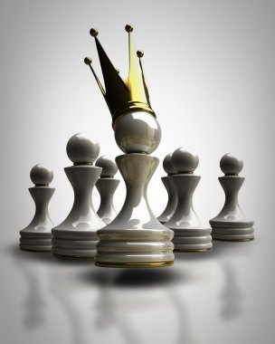 Pawn in a golden crown High resolution 3D