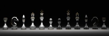Chess set isolated on black 3d render