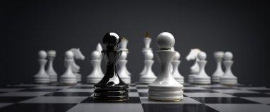 Black vs wihte chess pawn background 3d illustration. high resolution