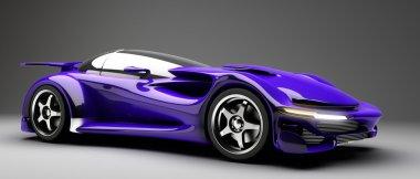 blue Sports car road-star 3d render