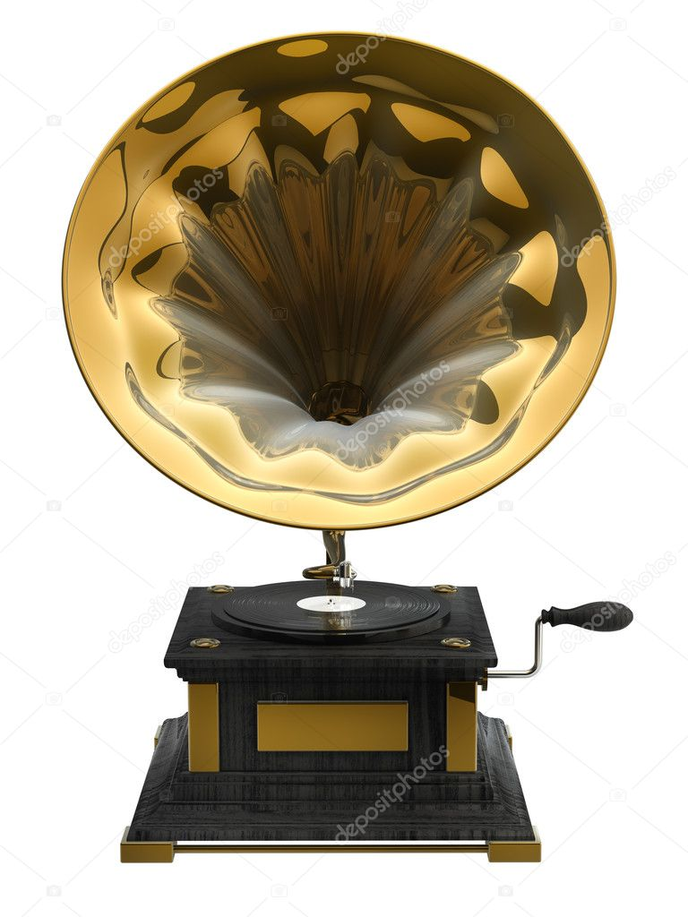 Old record player over white background.