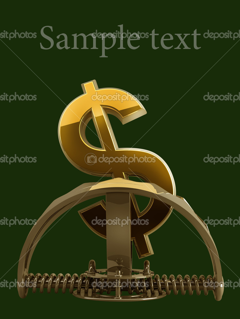 Us Dollar Symbol In The Trap Isolated On Green Background 3d