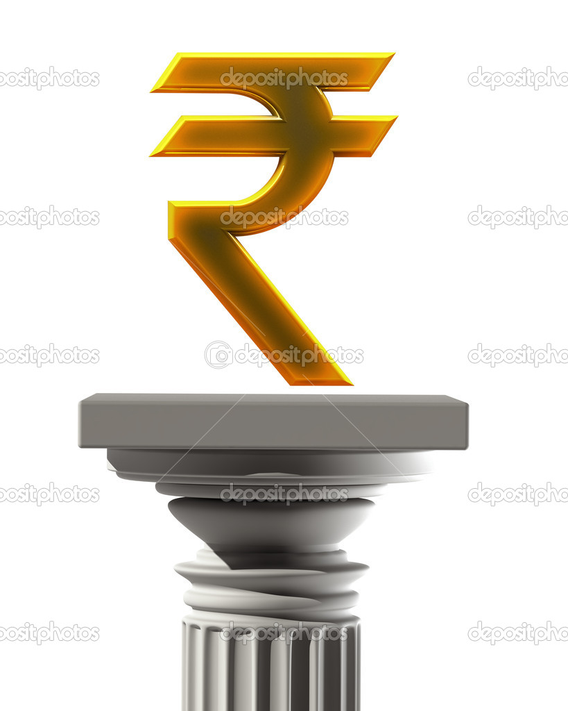 Column pedestal with indian rupee symbol stock photo addricky column pedestal with indian rupee symbol isolated on white background high resolution 3d photo by addricky biocorpaavc Choice Image