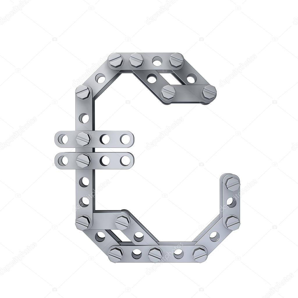 Metallic Symbol Of British Pound Currency With Rivets And Screws