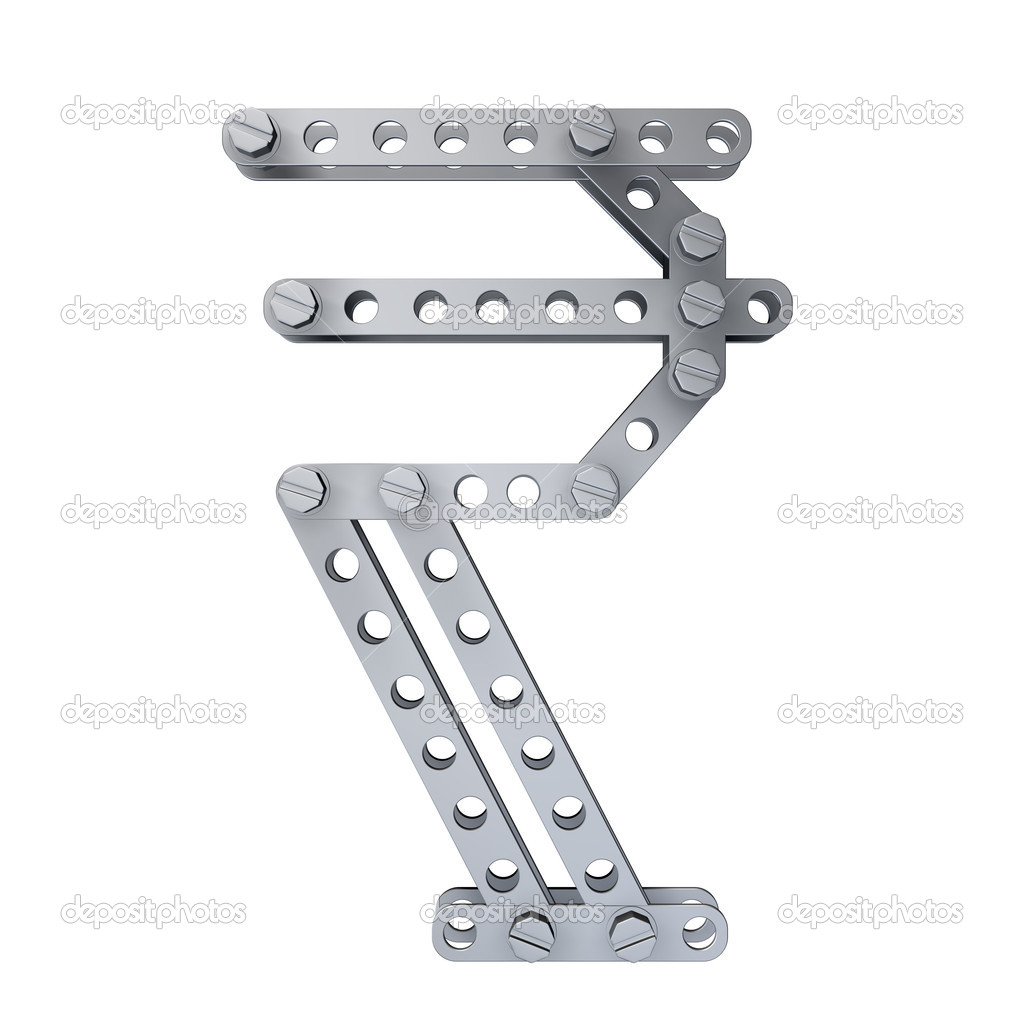 Metallic Symbol Of Indian Rupee Currency With Rivets And Screws