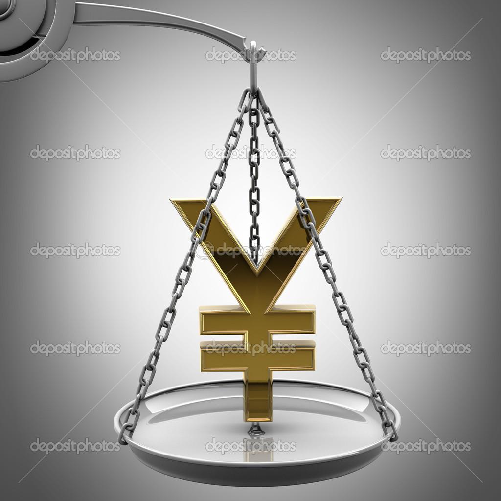Scale with golden japanese yen symbol stock photo addricky scale with golden japanese yen symbol stock photo biocorpaavc Choice Image