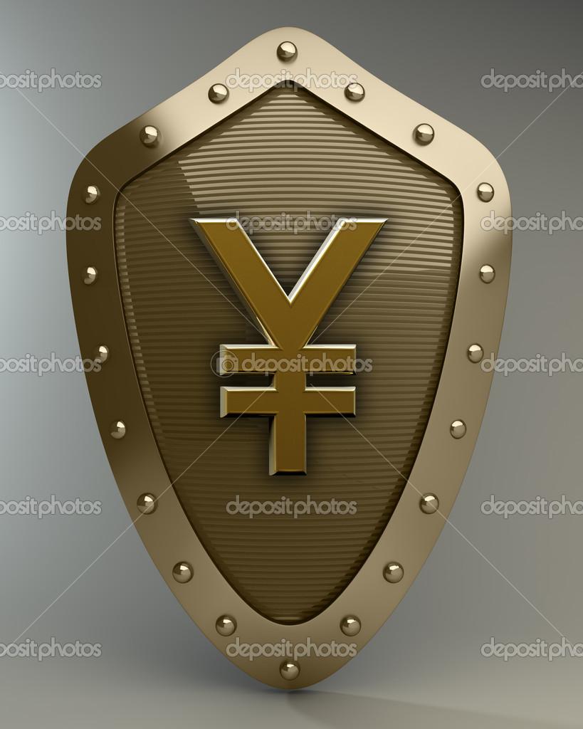 Gold shield with japanese yen symbol stock photo addricky gold shield with japanese yen symbol stock photo biocorpaavc Choice Image