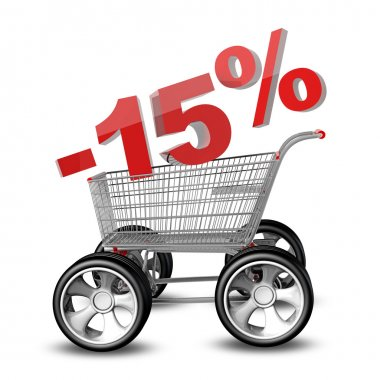 Concept SALE discount 15 percent. shopping cart with big car wheel High resolution 3d render