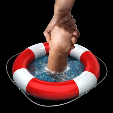 Red life buoy with hands