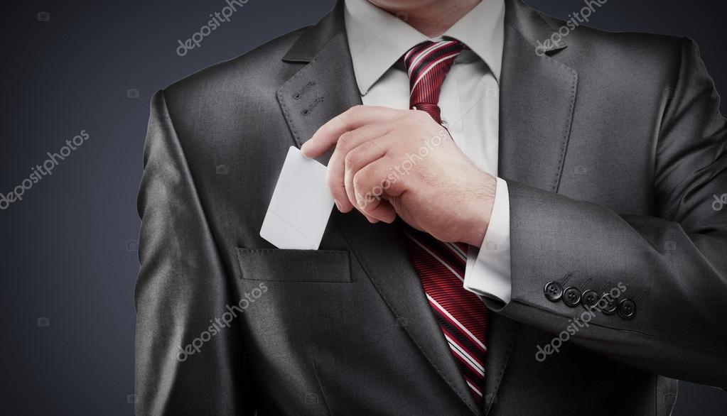 Homme Daffaires Remettant Une Carte De Visite Isolee Image ADDRicky