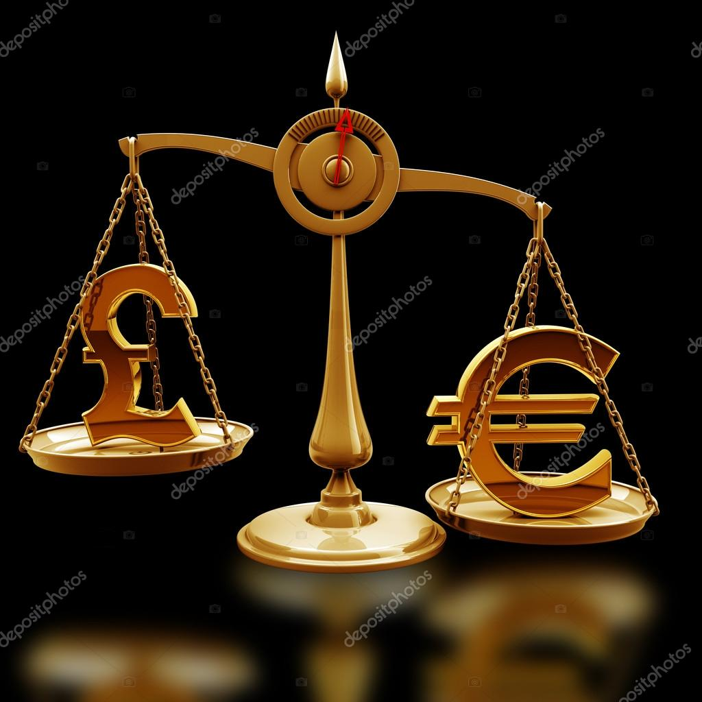 Golden Scale With Symbols Of Currencies Euro Vs British Pound