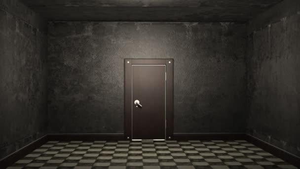 Door opening and illuminating a dark room