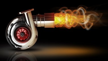Steel turbocharger with fire.