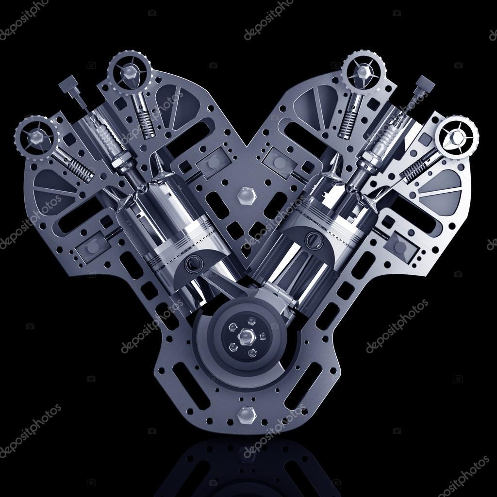 V8-Motor. Konzept der modernen Automotor — Stockfoto © ADDRicky ...