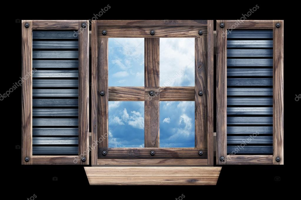 Old Grunge Wooden Window Frame U2014 Stock Photo