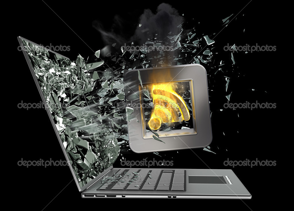 Tick Symbol Flaming Icon Exit By A Monitor Of Laptop Screen Stock