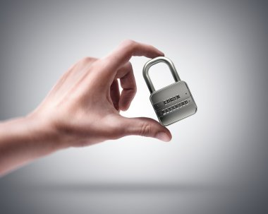 Hand holding lock password