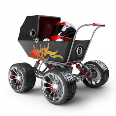 Carriage with big car wheel and the small racer in a helmet.