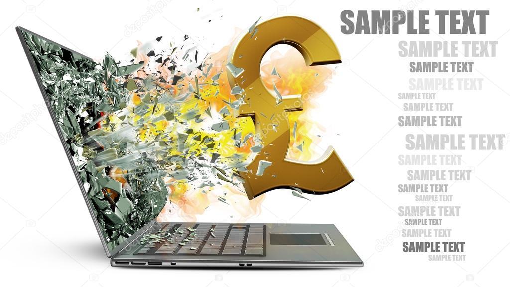 Laptop With Broken Screen On Fire Symbol Stock Photo Addricky