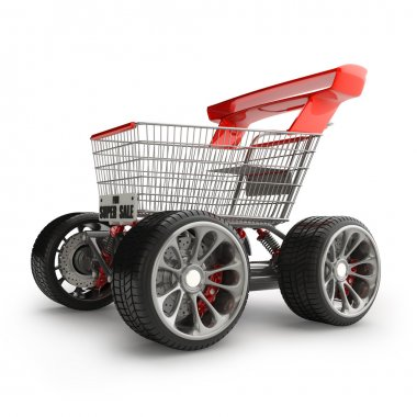 Shopping cart with big car wheel