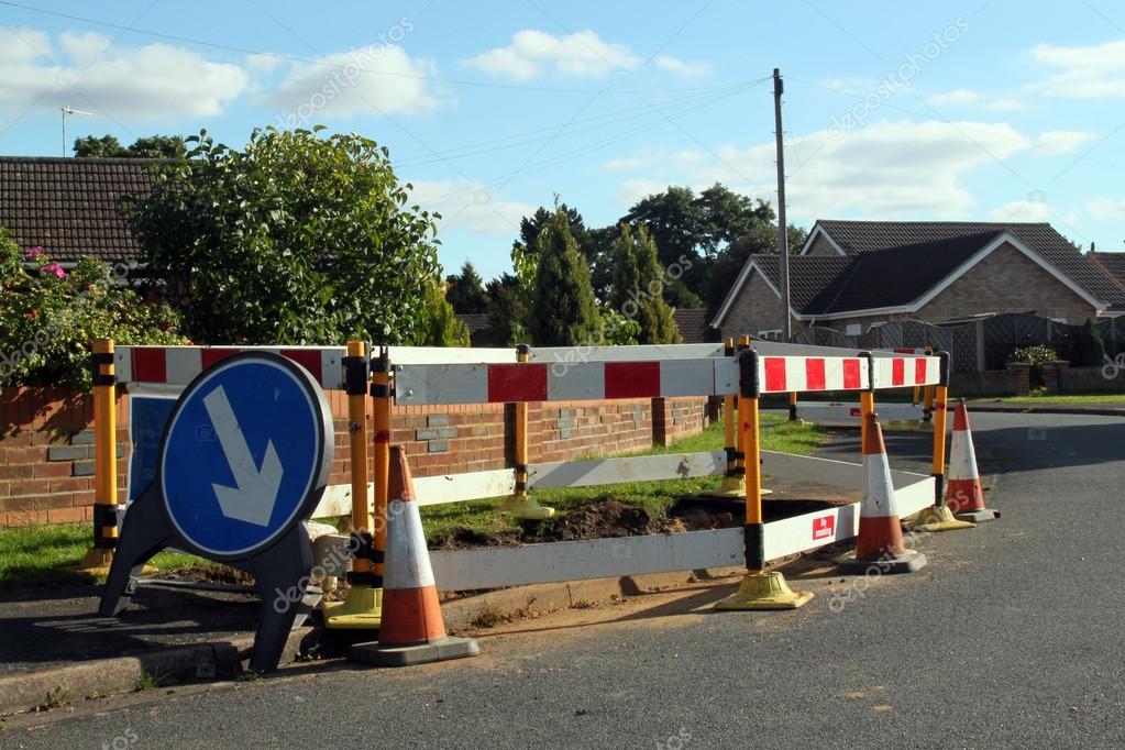 road work warning signs and barriers � stock photo